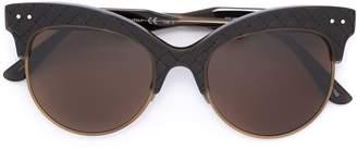 Bottega Veneta woven panel round frame sunglasses