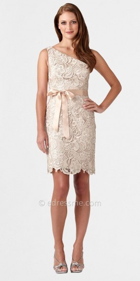 Adrianna Papell One Shoulder Lace Cocktail Dress