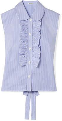 Miu Miu Striped Ruffled Cotton-poplin Blouse - Light blue