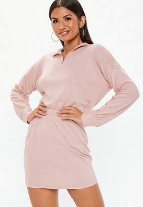 Missguided Pink Oversized High Neck Ruched Waist Sweater Dress
