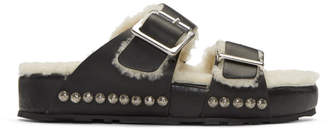 Alexander McQueen Black and Off-White Shearling Strap Sandals
