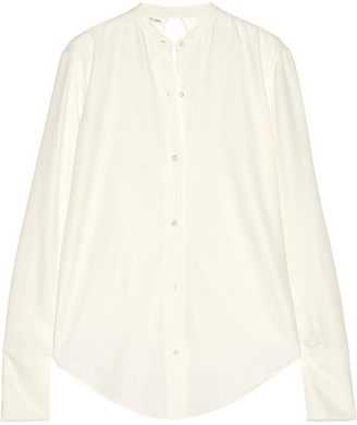 Helmut Lang - Knot-detailed Open-back Twill Shirt - Cream $360 thestylecure.com