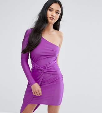 NaaNaa Petite Naanaa Petite One Shoulder Wrap Front Mini Dress