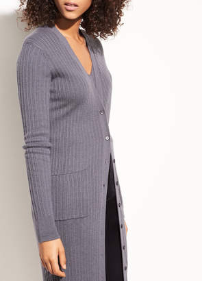 Vince Mix Ribbed Cashmere Long Button Cardigan