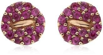 Mini Button Pink Pavé Earrings