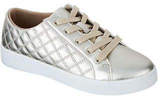 Nobrand NO BRAND Isaac Mizrahi Live! SOHO Metallic Quilted Lace-Up Sneakers
