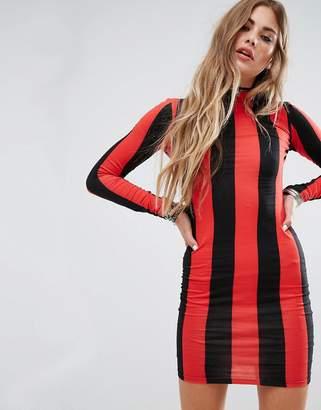 Motel Bodycon Dress With Long Sleeve In Stripe