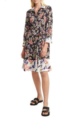 French Connection Acaena Floral Long Sleeve Cotton Shirtdress