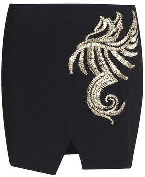 Roberto Cavalli Wrap-Effect Embellished Crepe Mini Skirt