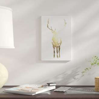 East Urban Home 'Gold Foil Standing Elk' Graphic Art Print on Wrapped Canvas