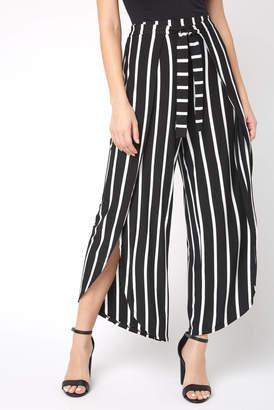 Olivaceous Contrast Stripe Tie Front Wrap Pant