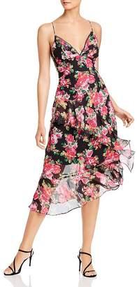 Aqua Ruffled Floral Midi Dress - 100% Exclusive