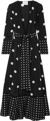 Leone We Are Polka-dot Silk Crepe De Chine Robe