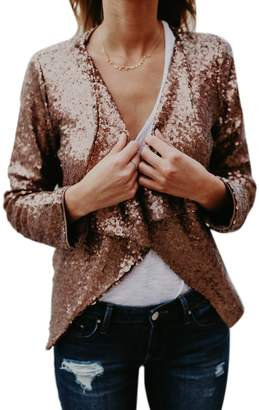 Suvotimo Women Elegant Shawl Collar Long Sleeve Sequins Blazer Party Jackets XL