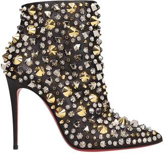 Christian Louboutin Black Leather So Full Kate Ankle Boots