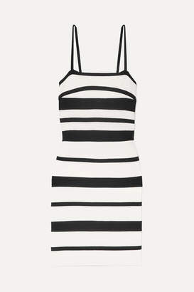 Herve Leger Striped Bandage Mini Dress - White