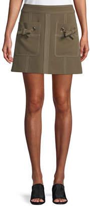 Veronica Beard Rinko Patch-Pocket Mini Skirt
