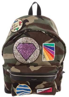 Saint Laurent City Appliquéd Camouflage Backpack
