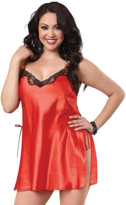 Dreamgirl Women's Plus-Size Lace Trim Toga Chemise
