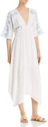 En Creme Embroidered Dolman-Sleeve Maxi Dress