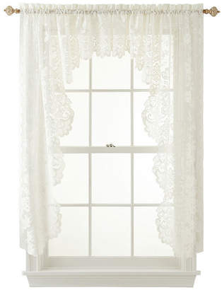 JCPenney JCP HOME HomeTM Shari 2-Pack Lace Rod-Pocket Cascade Valance