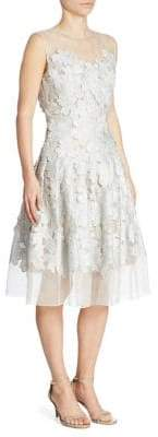 Carmen Marc Valvo Floral Applique Cocktail Dress