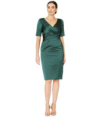 Adrianna Papell Pleat Wrap Satin Cocktail Dress