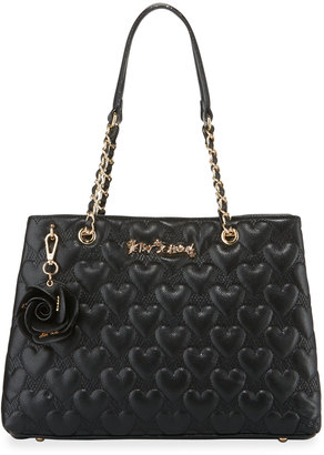Betsey Johnson Bee Mine Heart-Quilted Tote Bag, Black $105 thestylecure.com