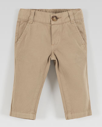 Gucci Flat-Front Cotton Slacks, Khaki