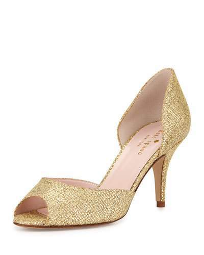Kate Spade New York Sage Glitter Peep-Toe Pump, Gold