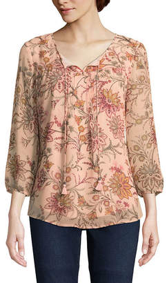 ST. JOHN'S BAY Womens Split Crew Neck 3/4 Sleeve Woven Lined Floral Blouse