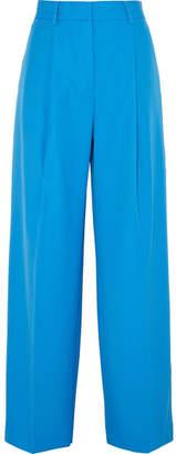 Victoria Beckham Victoria, Cotton-twill Wide-leg Pants - Blue