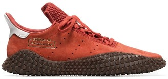 adidas orange Kamanda 01 suede low-top sneakers