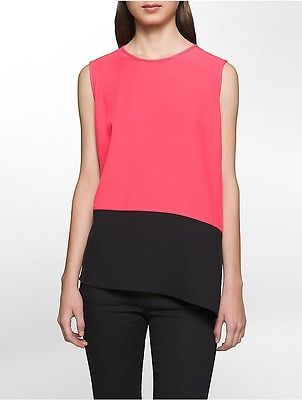 Calvin Klein Calvin Klein Womens Colorblock Angled Sleeveless Top Shirt Watermelon Xs