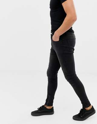 Religion drop crotch super skinny fit jeans with panelling in black wash