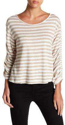 Love Stitch Striped Ruched Sleeve Shirt