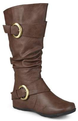 Brinley Co. Women's Wide-Calf Buckle Knee-High Slouch Boot