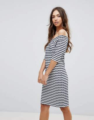 Lavand Stripe Bardot Dress