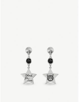 Gucci Blind for Love star-shaped sterling silver and black spinel earrings