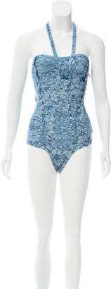 Herve Leger Tie-Dye Halter Swimsuit w/ Tags