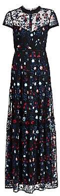 ML Monique Lhuillier Women's Floral-Embroidered Tulle Column Gown