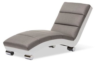 Baxton Studio Percy Modern and Contemporary Gray Fabric and White Faux Leather Upholstered Chaise Lounge