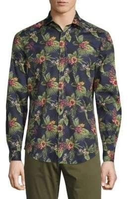 Tropical-Print Button-Down Shirt