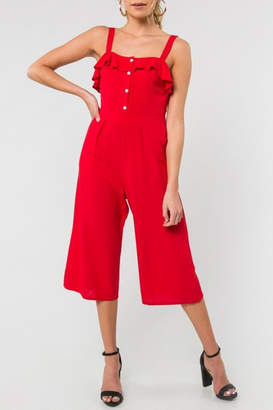 Everly Red Ruffle Cropped-Jumpsuit