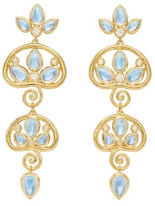 Temple St. Clair 18K Yellow Gold Perse Moon Blue Moonstone & Diamond Double Drop Earrings