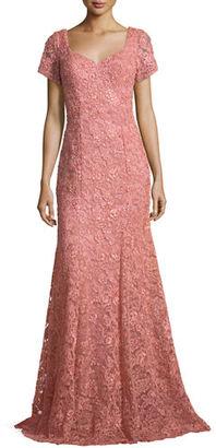 La Femme Short-Sleeve Sequined Lace Gown $498 thestylecure.com