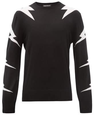 Neil Barrett Lightning Bolt Intarsia Wool Blend Sweater - Mens - Black White
