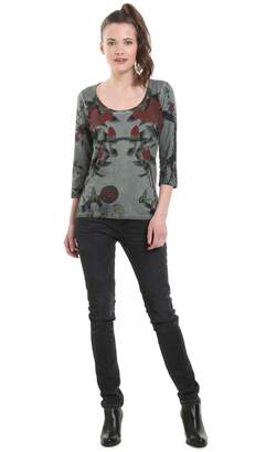 Desigual Crew Neck Floral Print T-Shirt with 3/4 Length Sleeves