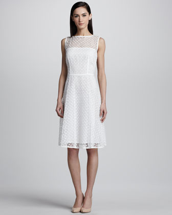 Escada Geometric Lace Dress, White