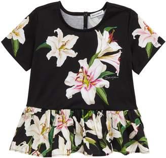Dolce & Gabbana Floral Peplum Cotton Top